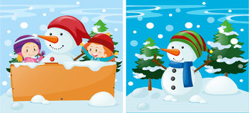 Two scenes with kids and snowman Royalty Free Stock Photography