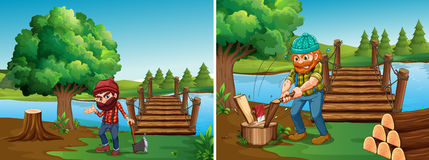 Two scenes with lumberjacks chopping woods Royalty Free Stock Image