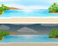 Two scenes of ocean on sunny and rainy days Stock Images