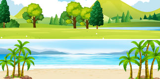 Two scenes of park and beach. Illustration Stock Images