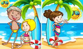 Two scenes of people on the beach. Illustration Royalty Free Stock Photography