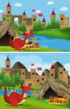 Two scenes with red dragon guarding treasure. Illustration Stock Photo