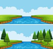 Two scenes of river with trees and field Stock Photos