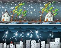 Two scenes with thunders and storms Royalty Free Stock Photo