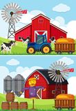 Two scenes with tractor and scarecrow in the farms. Illustration Royalty Free Stock Photography