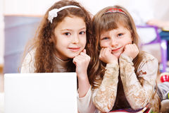 Two school aged girls Royalty Free Stock Photos