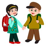 Two school children. A boy and a girl stock illustration
