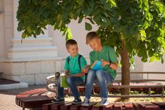 Two school children sit under a tree and read books on a sunny summer day.  Royalty Free Stock Photography