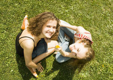 Two school-friend. From above Royalty Free Stock Photos