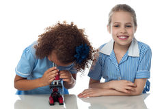 Two school kids doing research Stock Photography