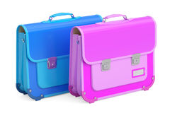 Two schoolbags, briefcases. 3D rendering Stock Images