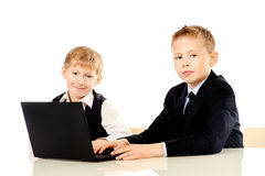 Two schoolboys Stock Photo