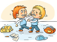Two schoolboys are fighting. Two cartoons schoolboys are fighting Stock Photo