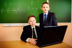 Two schoolboys Royalty Free Stock Photos