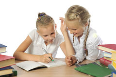 Two Schoolgirls Royalty Free Stock Photo