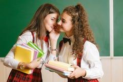 Two schoolgirls in school stand in a classroom with books. schoolgirl whispers in her friend`s ear a secret or gossip. Two brunette schoolgirls in school red stock photography
