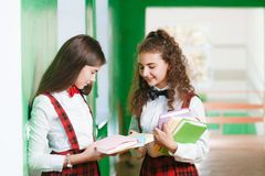 Two schoolgirls are standing in the hallway with books