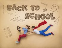 Two schoolkids learning Royalty Free Stock Photography
