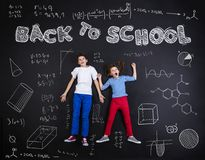 Two schoolkids learning Royalty Free Stock Photo