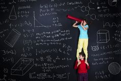 Two schoolkids learning Royalty Free Stock Image