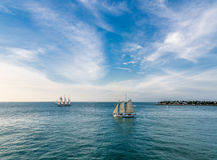 Two Schooners on Blue Stock Photo