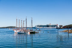 Two Schooners with Cruise Ship at Bar Harbor Stock Images