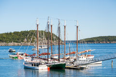 Two Schooners in Harbor Royalty Free Stock Photo