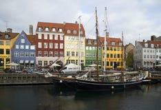 Two schooners moored at the waterfront of Newhaven. Copenhagen Stock Photos