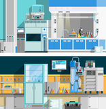 Two Science Laboratory Horizontal Banners. With compositions of workspace for chemical experiments in modern interior flat vector illustration Royalty Free Stock Photography