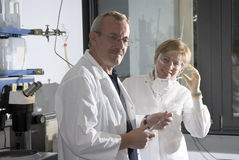 Two science technicians. At work in the laboratory Stock Photo