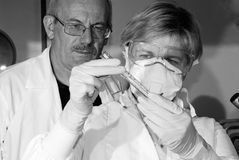 Two science technicians. At work in the laboratory Stock Photos