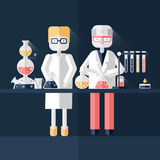 Two scientist chemists in white lab coats in a scientific laboratory. Man and woman make a chemical experiment. Flat Royalty Free Stock Photography