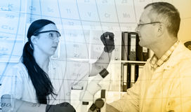 Two scientist  in laboratory. research Royalty Free Stock Images
