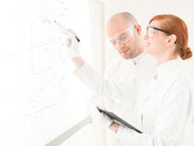 Two scientists having a discussion royalty free stock photo