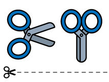 Two scissor icons, one open and one closed Royalty Free Stock Photo