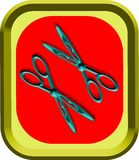 The two scissors. Two blue metallic scissors , both with opened blades,on the red surface of a square shaped metallical green plate vector illustration