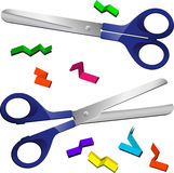 Two Scissors with cut paper pieces Royalty Free Stock Photo