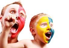 Two screaming fans - Poland Ukraine stock photo