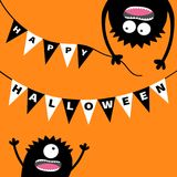 Two screaming monster head silhouette. Bunting flags pack Happy Halloween letters. Flag garland. Hanging upside down. Black Funny Royalty Free Stock Photo