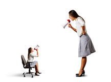 Two screaming women with megaphone Royalty Free Stock Photos