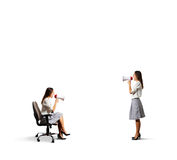 Two screaming women with megaphone Royalty Free Stock Image