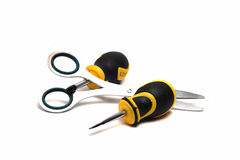 Two screwdrivers and scissors Royalty Free Stock Images