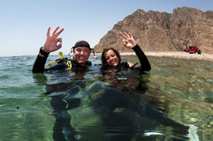 Two scuba divers Stock Images