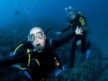 Two scuba divers stock photos