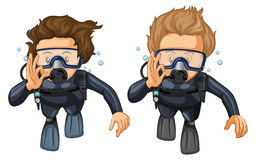 Two scuba divers with hand gesture Royalty Free Stock Photos