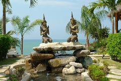 Two sculpture. View on pacific ocean. ecuador. south america royalty free stock photography