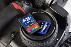 Two SD memory flash card and DSLR camera Royalty Free Stock Images