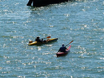 Two Sea Kayaks On San Francisco Bay Royalty Free Stock Image