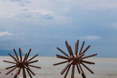 Two Sea Urchins statues in Puerto Vallarta in Mexico. Sculpure was made by Blu Maritza Vazquez at 2007 Royalty Free Stock Photography