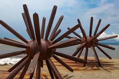 Two Sea Urchins statues in Puerto Vallarta in Mexico. Sculpture was made by Blu Maritza Vazquez at 2007 stock image